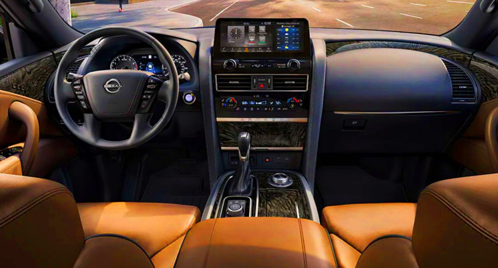 The interior of a 2022 Nissan Armada large SUV.