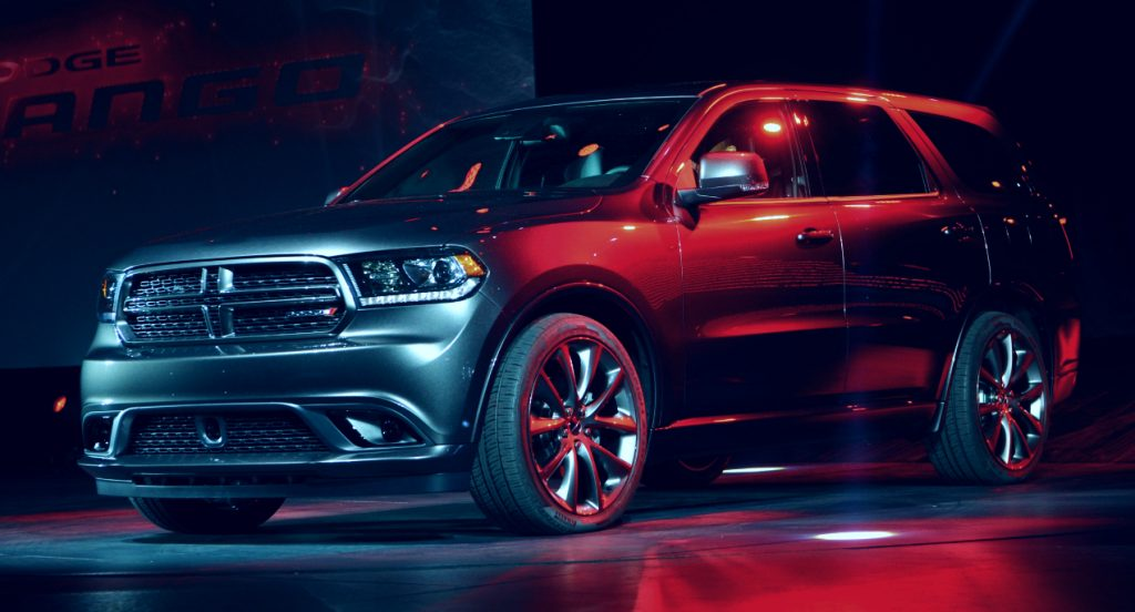 A black Dodge Durango unveiled during the second press preview day at the New York International Automobile Show March 28, 2013 in New York.