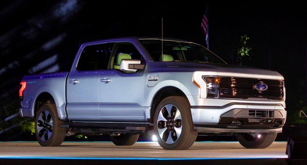 A gray Ford F-150 Lightning performance pickup truck is revealed at a livestream event at Ford World Headquarters on May 19, 2021 in Dearborn, Michigan. The truck will be built at the all-new Ford Rouge Electric Vehicle Center in Dearborn starting in the Spring of 2022,