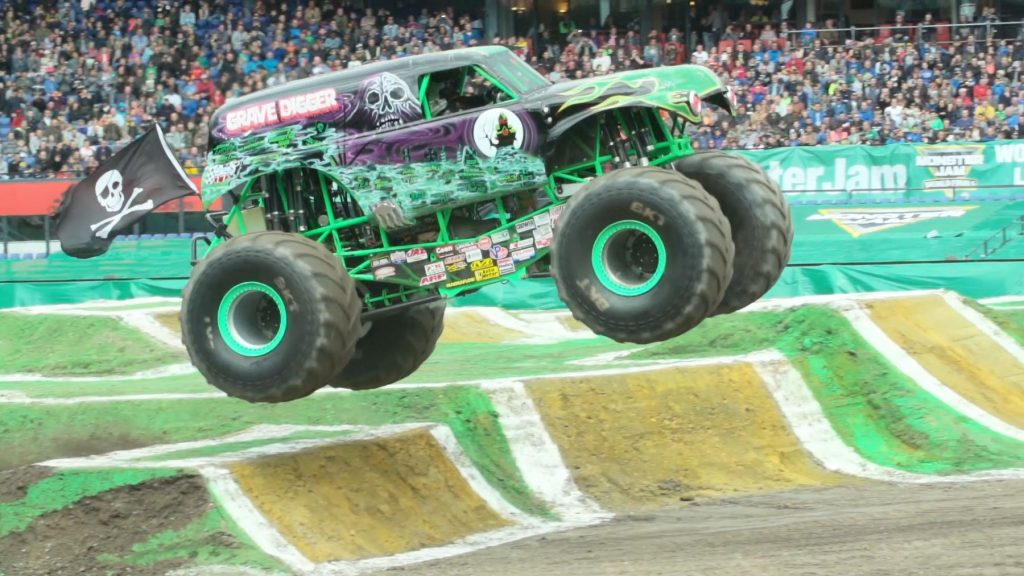 The Grave Digger monster truck flying in Rotterdam