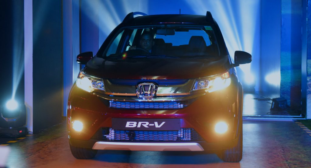 Front view of a red Honda BR-V subcompact crossover vehicle during its launch on May 5, 2016 in New Delhi, India.