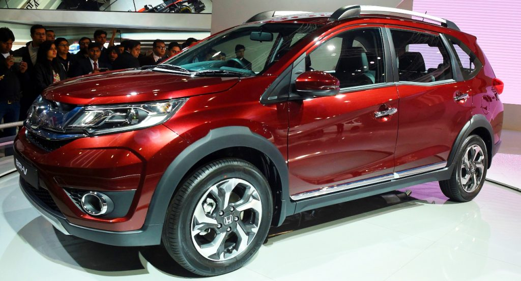 A red Honda BR-V Subcompact Crossover vehicle.