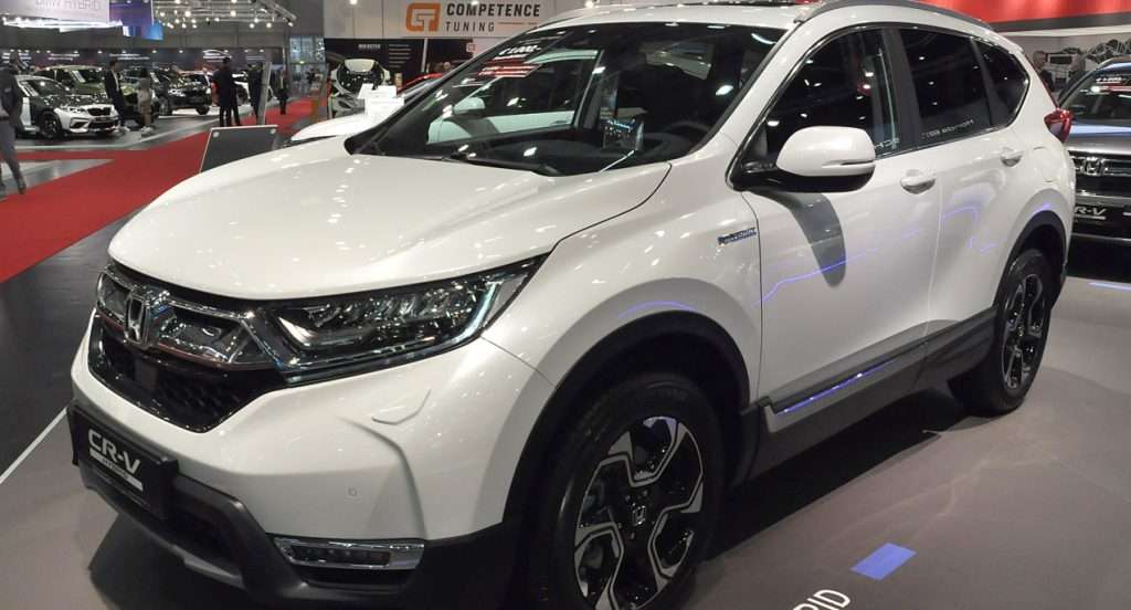 A white Honda CR-V is seen during the Vienna Car Show press preview at Messe Wien, as part of Vienna Holiday Fair, on January 15, 2020 in Vienna, Austria. The Vienna Autoshow will be held January 16-19.