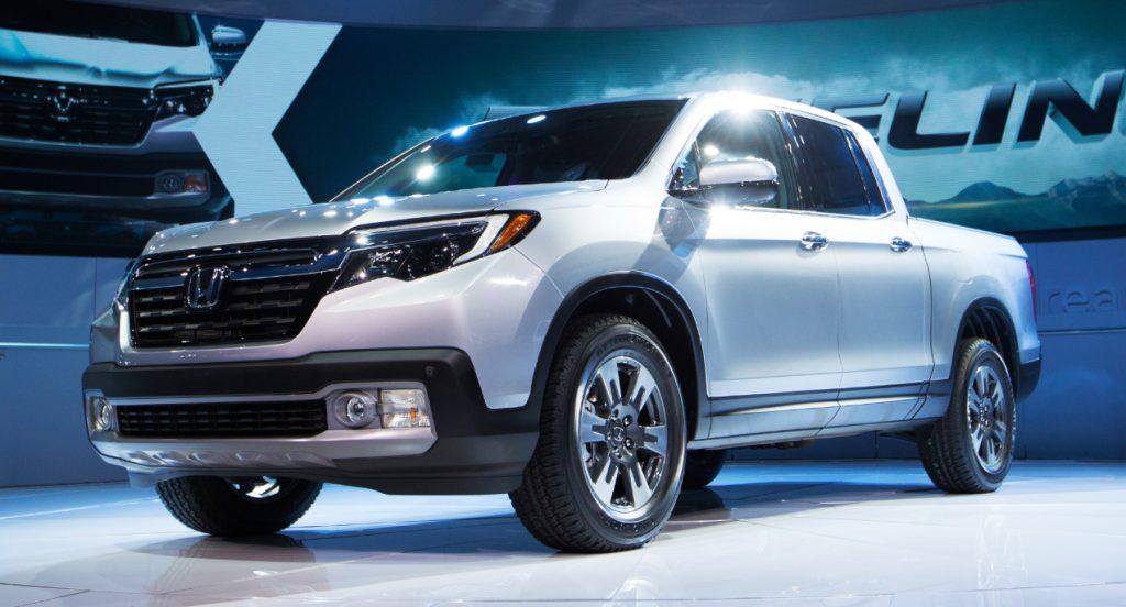 The new 2016 Honda Ridgeline truck during the North American International Auto Show in Detroit, Michigan.