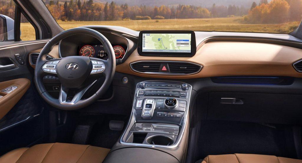 The interior of a Hyundai Santa Fe.