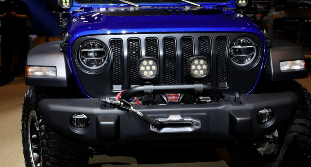 A blue 2020 Mopar-Modified Jeep Wrangler is on display at the 112th Annual Chicago Auto Show at McCormick Place.