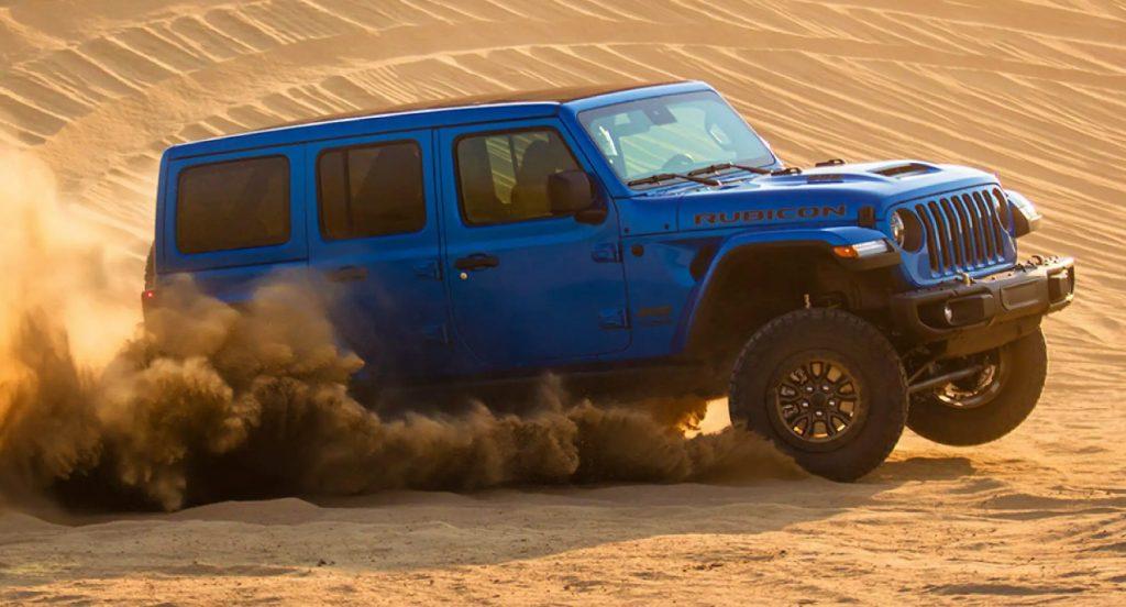A blue Jeep Wrangler Rubicon.
