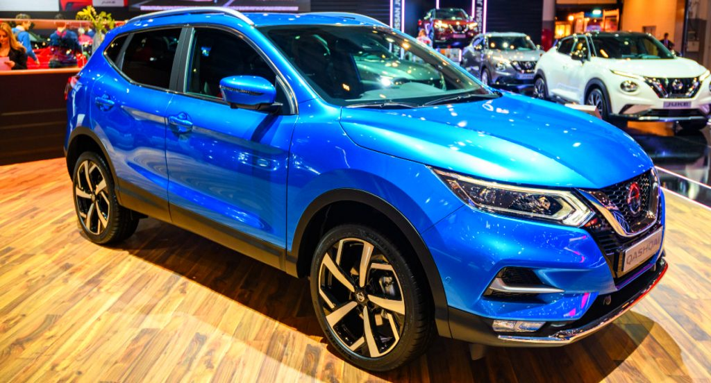 A blue Nissan Rogue compact crossover SUV on display at Brussels Expo on January 9, 2020 in Brussels, Belgium.