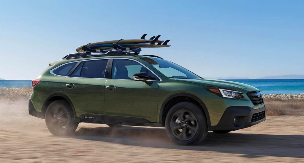 2021 Subaru outback driving through the desert. Subaru dominated the Consumer Reports list of best SUVs for Stress-free driving