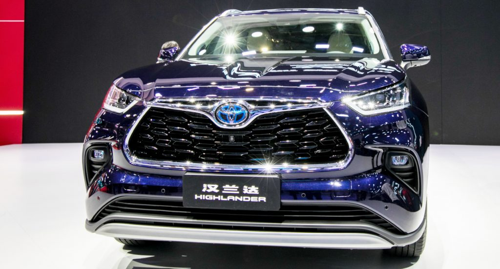 A Toyota Highlander car is on display during the 19th Shanghai International Automobile Industry Exhibition (Auto Shanghai 2021) at National Exhibition and Convention Center (Shanghai) on April 19, 2021 in Shanghai, China.