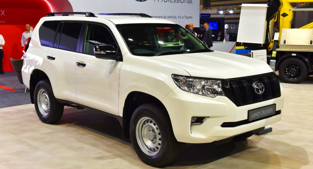 A white Toyota Land Cruiser is displayed during the Commercial Vehicle Show at the NEC on September 02, 2021 in Birmingham, England.