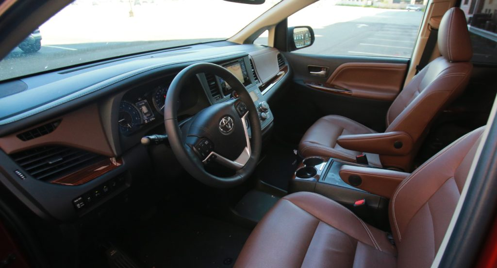 The interior of a Toyota Sienna minivan.