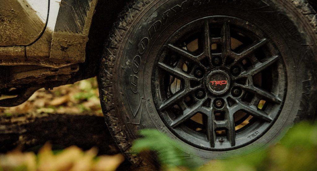 The Toyota Tacoma TRD Pro 16-inch wheels.