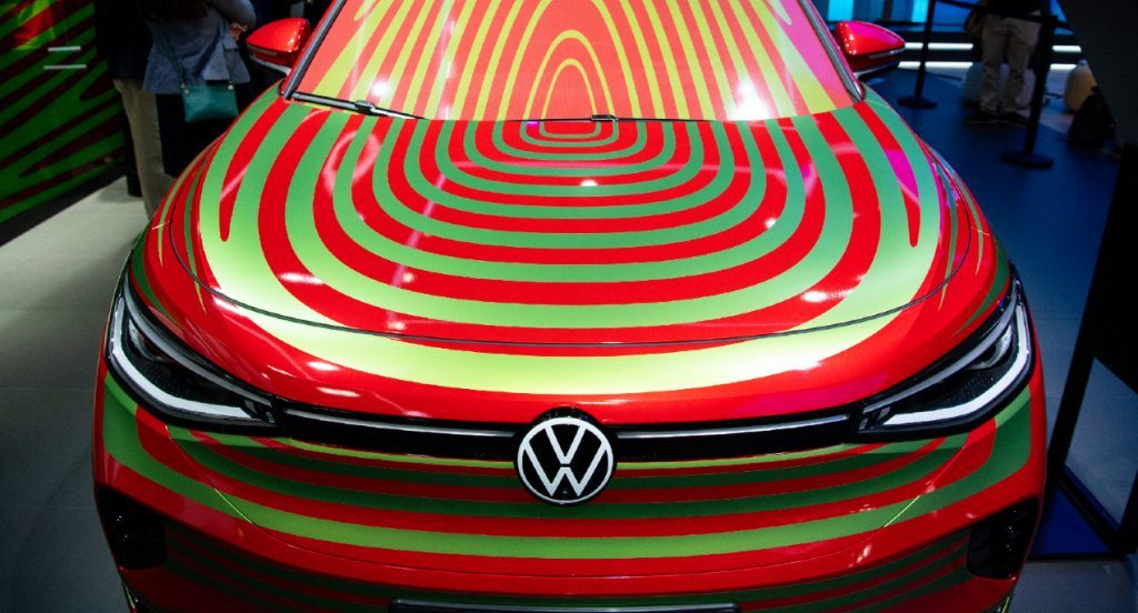 A red Volkswagen ID.5 electric SUV is seen at he Volkswagen stand before the start of the International Motor Show (IAA Mobility).