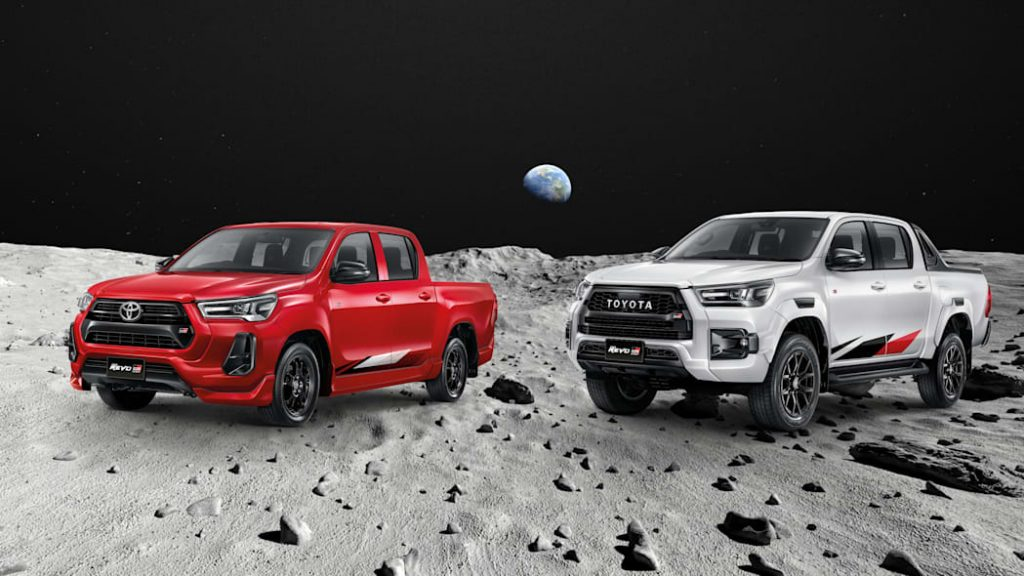The Toyota Hilux Revo GR Sport models on the moon