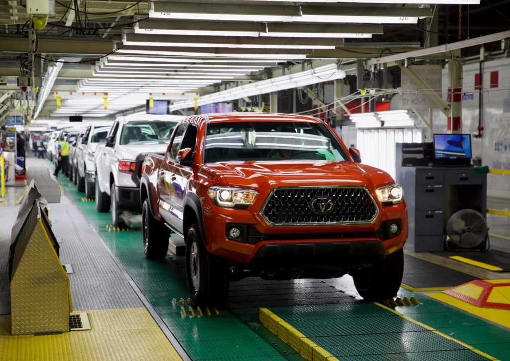 Toyota Tacoma trucks on assembly like at Toyota Motor Manufacturing, Texas plant