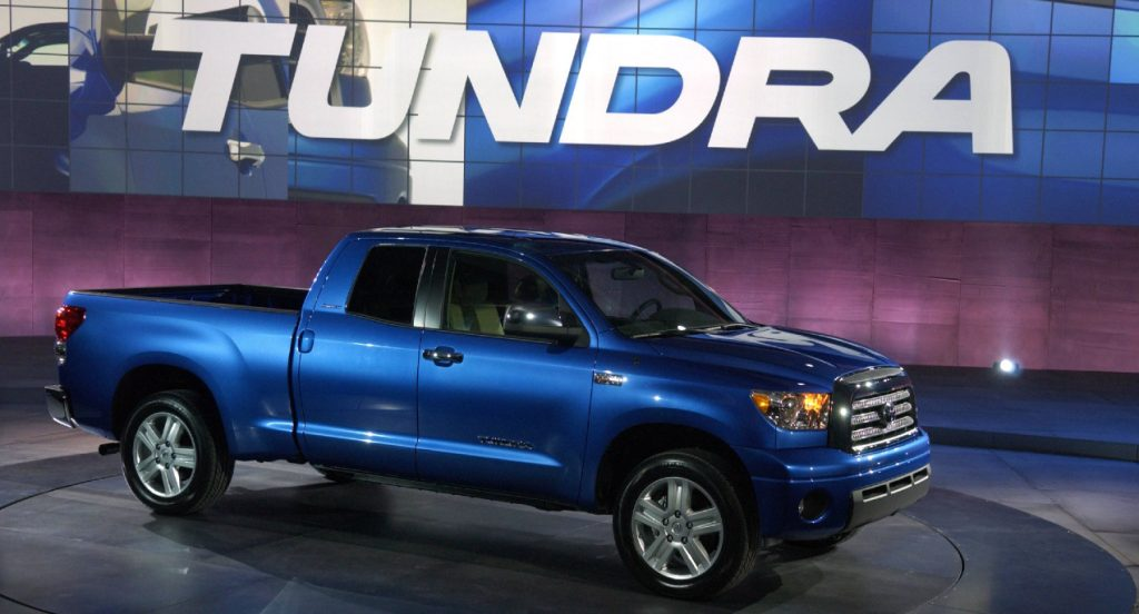A blue Toyota Tundra full-size pickup is unveiled at the Chicago Auto Show at McCormick Place in Chicago, Illinois, Thursday, February 9, 2006.
