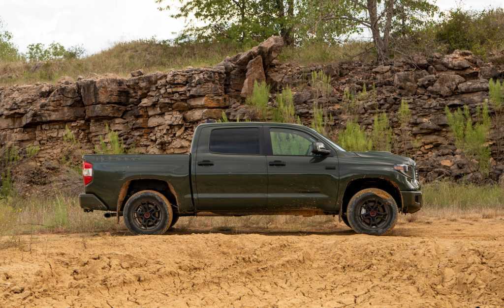 A green Toyota Tundra parked