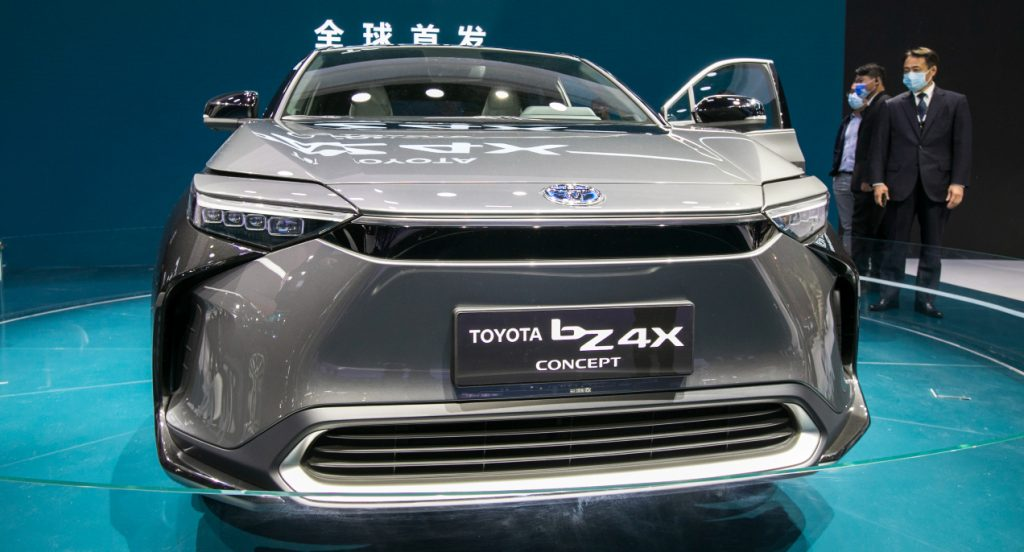 A Toyota bZ4X SUV is on display during the 19th Shanghai International Automobile Industry Exhibition (Auto Shanghai 2021) at National Exhibition and Convention Center (Shanghai) on April 19, 2021 in Shanghai, China.