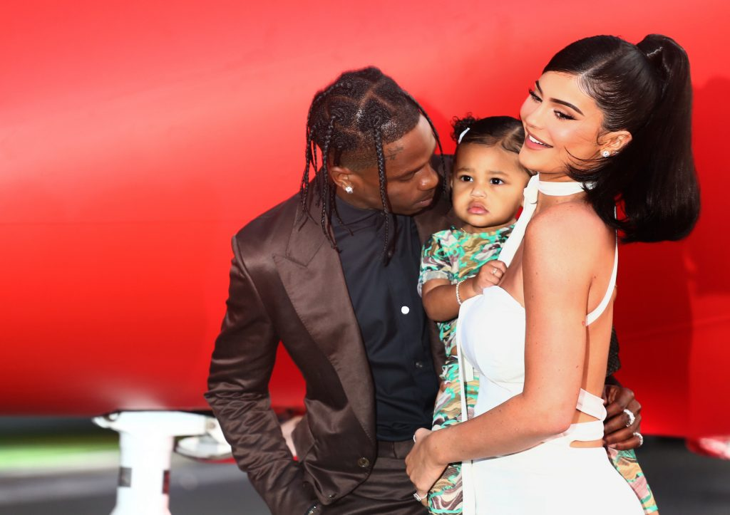 Travis Scott and Kylie Jenner with their daughter Stormi in August 2019