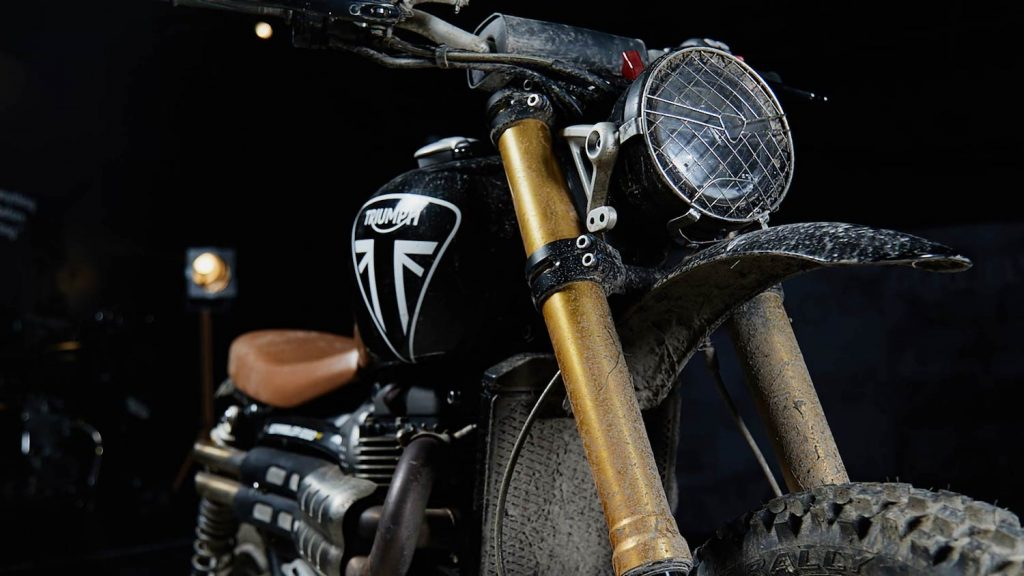 This is a limited edition Triumph Scrambler 1200 XE Bond Edition like the motorcycle James Bond rides in No Time To Die, courtesy of Triumph.