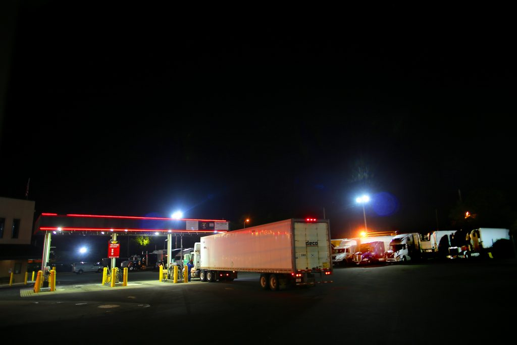 Trucks staying overnight at a rest stop/gas station