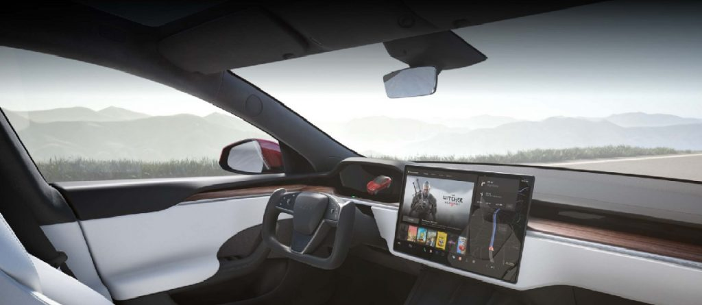 Another Tesla software update means updated Autopilot. The interior of a Model S, including the display screen.