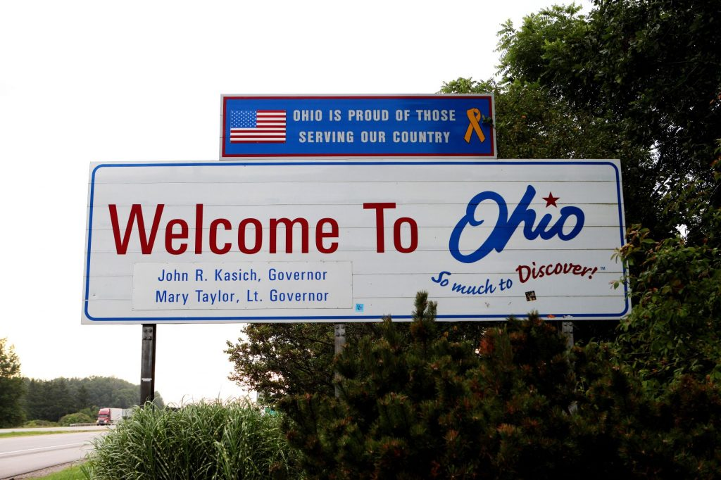 Welcome to Ohio sign where they get more speeding tickets than any other state.