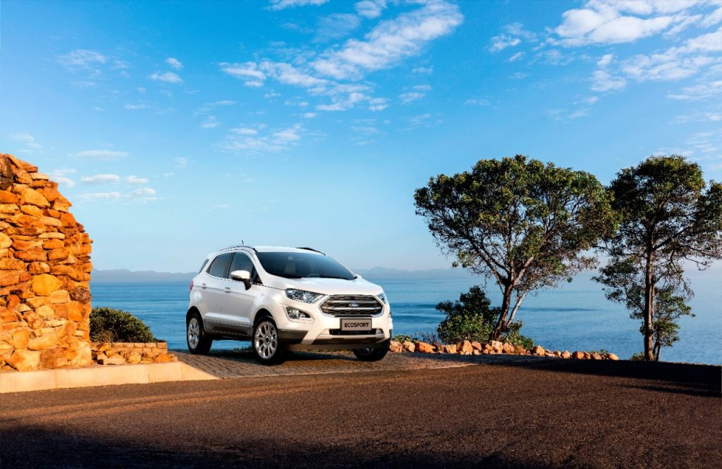 White 2021 Ford EcoSport with the ocean in the background