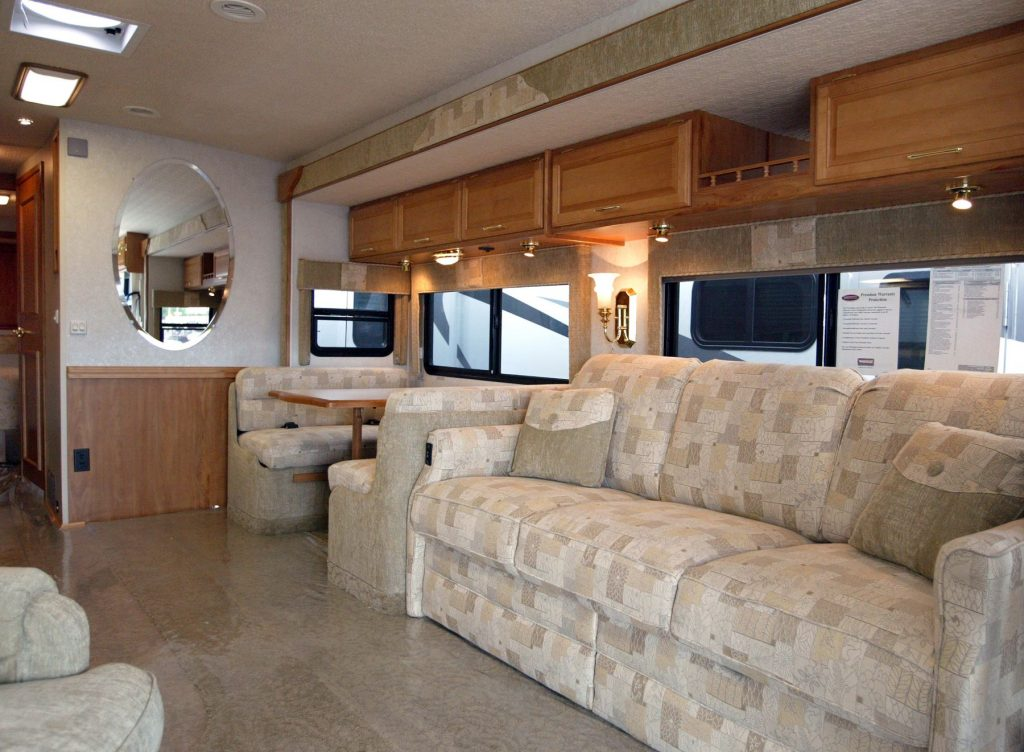 The interior of a Winnebago Adventurer RV model