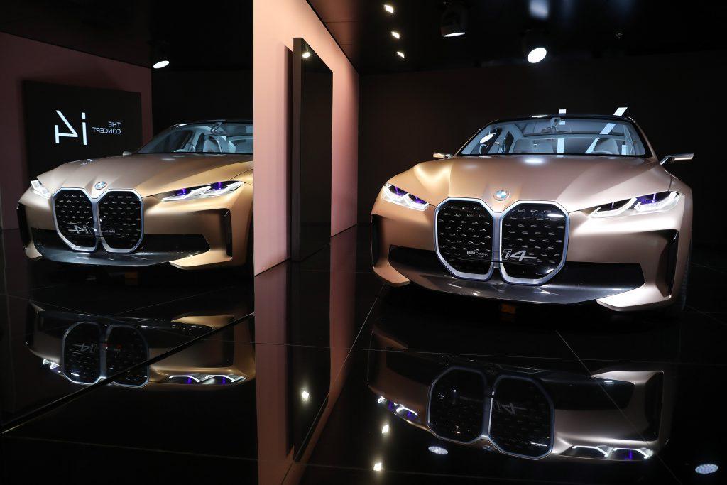 A BMW i4 electric car