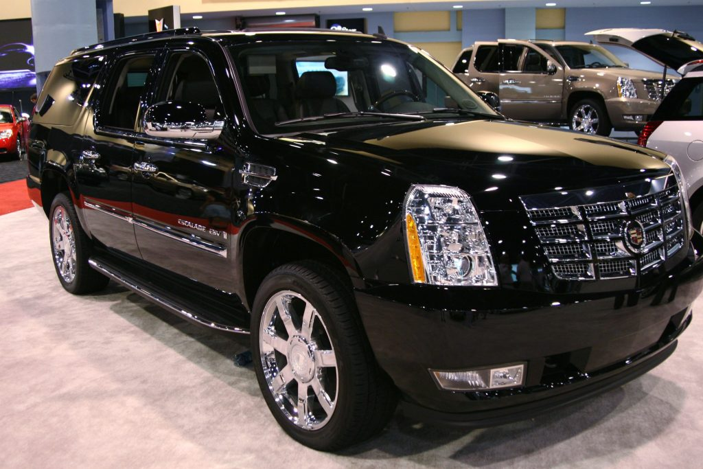 A Cadillac Escalade is displayed at the 36th Annual South Florida International Auto Show at the Miami Beach Convention Center