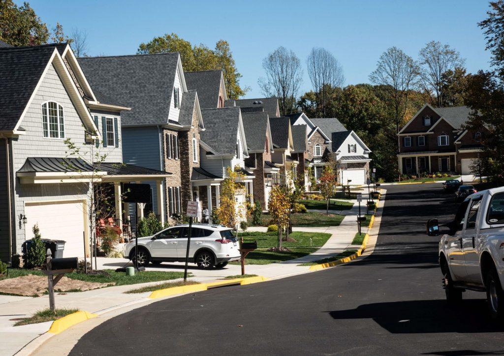 Neat line of suburban houses in Fairfax, Virginia.