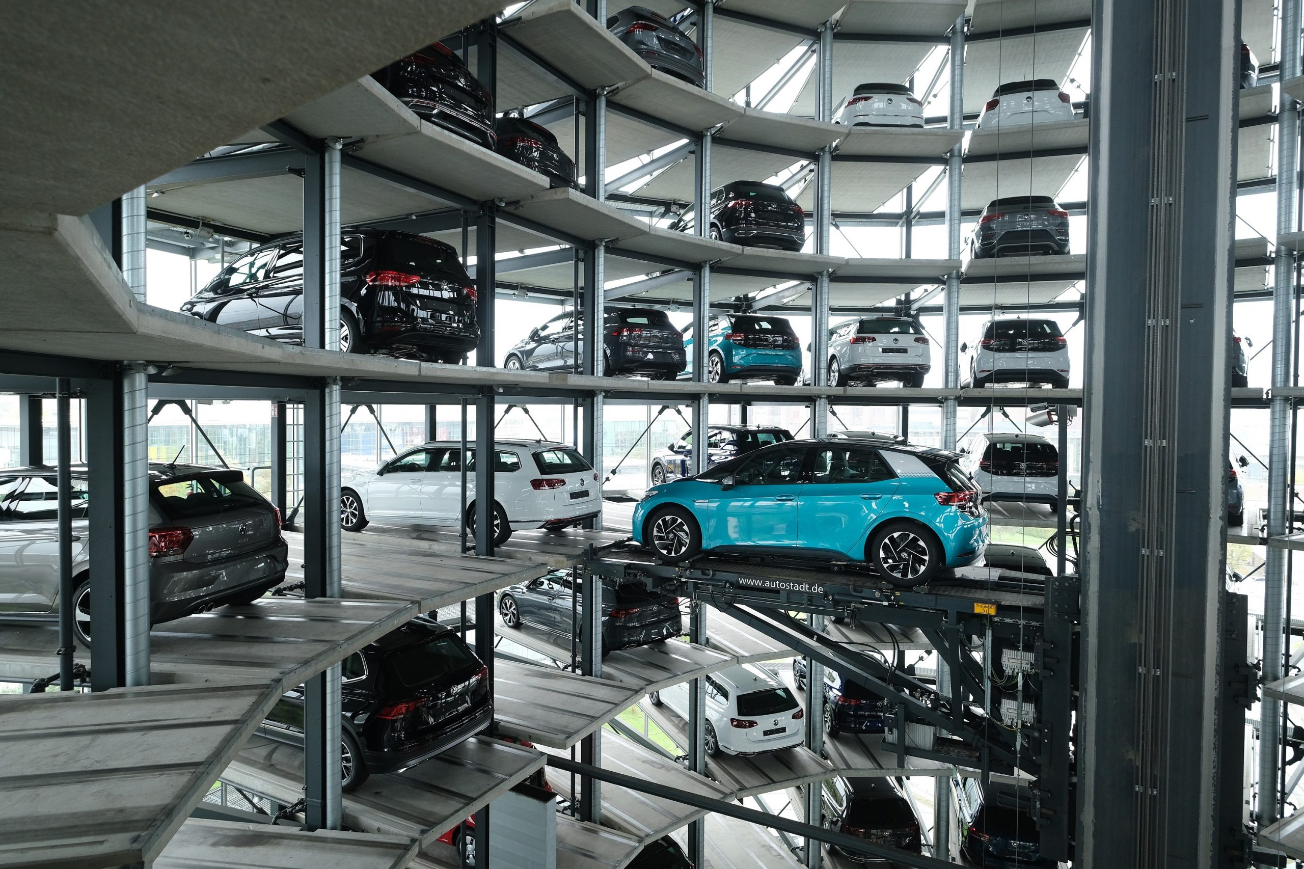 The Volkswagen Autostadt, basically a car elevator with millions of dollars of cars in it.