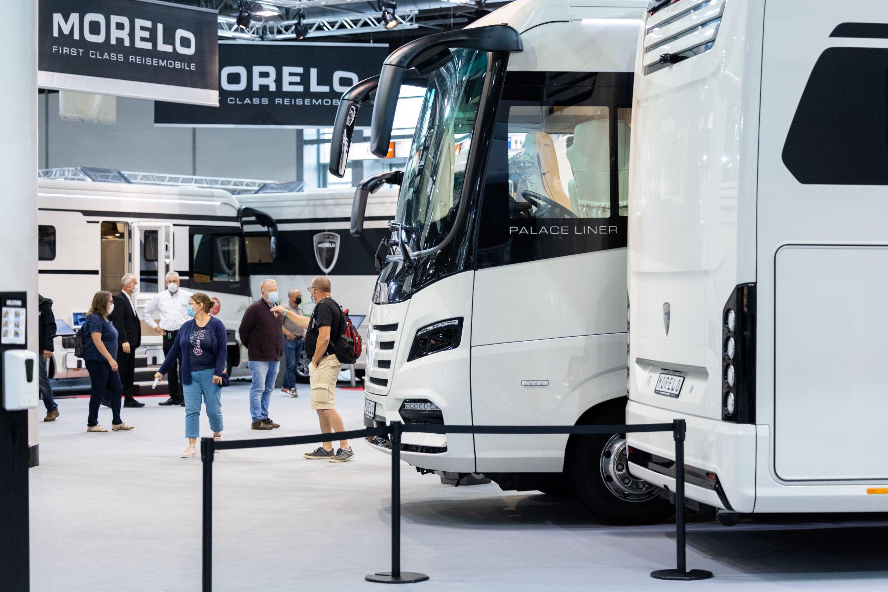A trade fair of caravans, motorhomes, and RVs at the 60th Caravan Salon