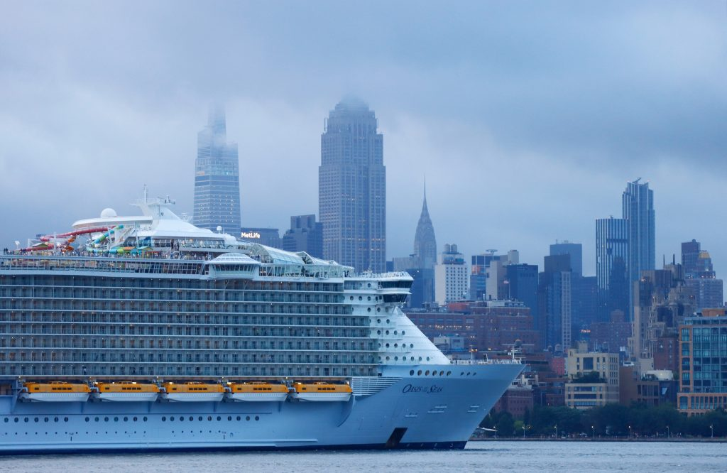 A Royal Caribbean cruise ship sails up the Hudson River in New York City