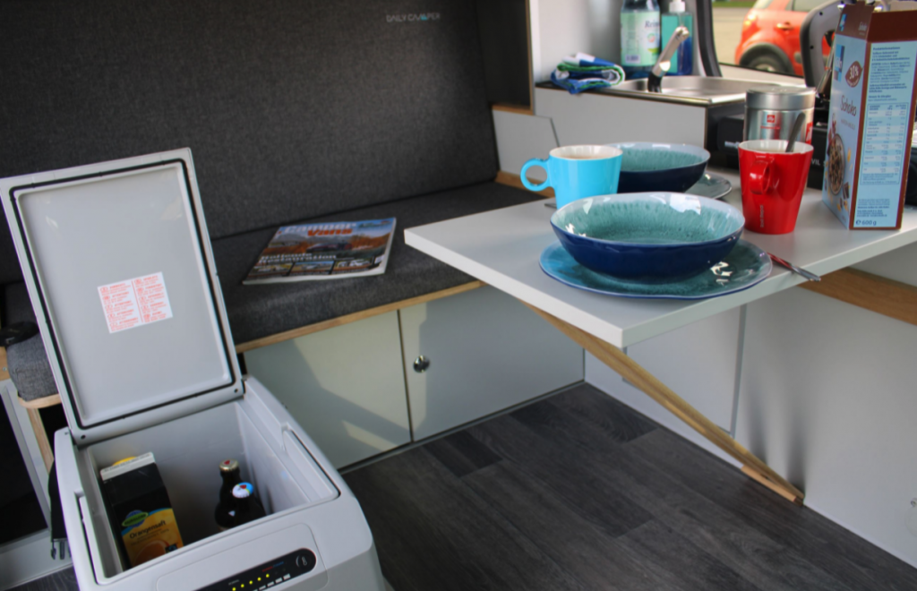 counter and kitchenette in the most affordable camper van