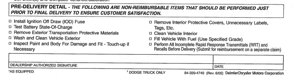 Chrysler, Jeep, Dodge Vehicle Preparation checklist