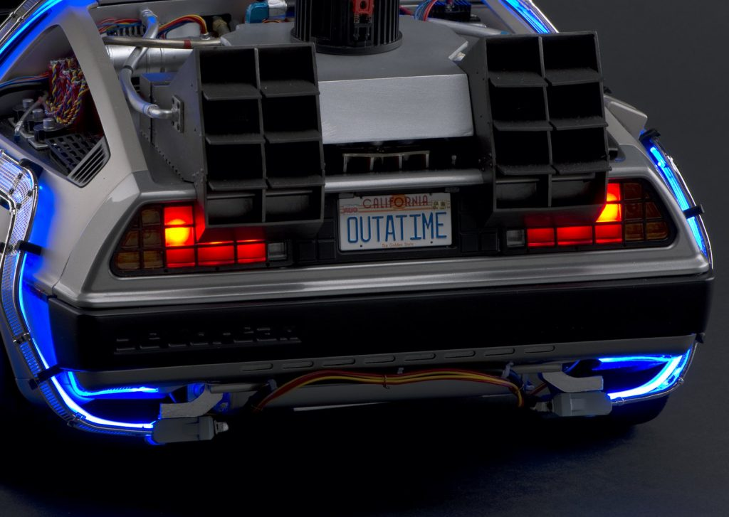 The back of a DeLorean DMC-12 from Back to the Future.