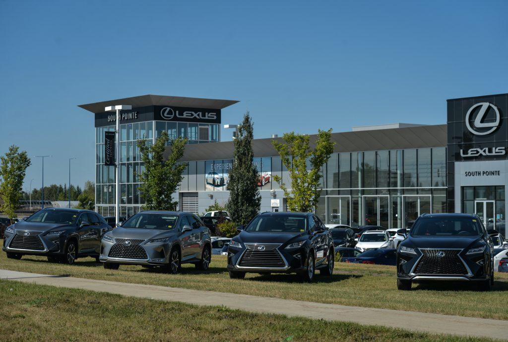 New Lexus vehicles parked outside a Lexus dealership in South Edmonton.