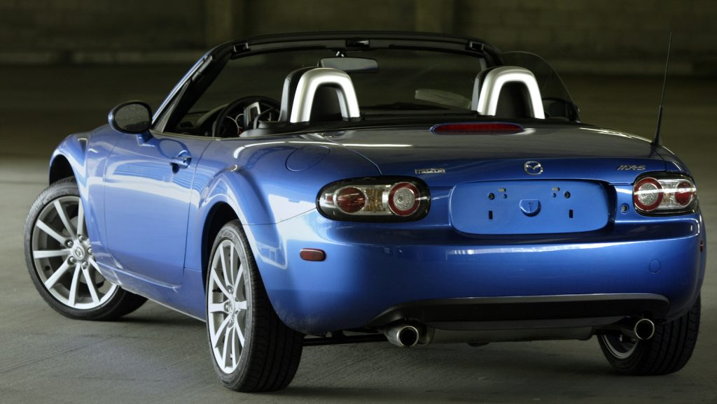 2006 Mazda Miata in blue. this is one of the best and affordable used cars with a manual transmission