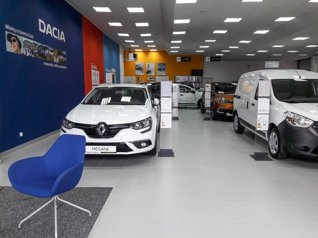 New car dealership showroom