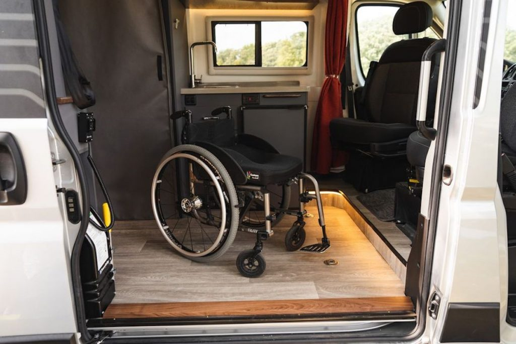 designated space for a wheelchair in the new Winnebago