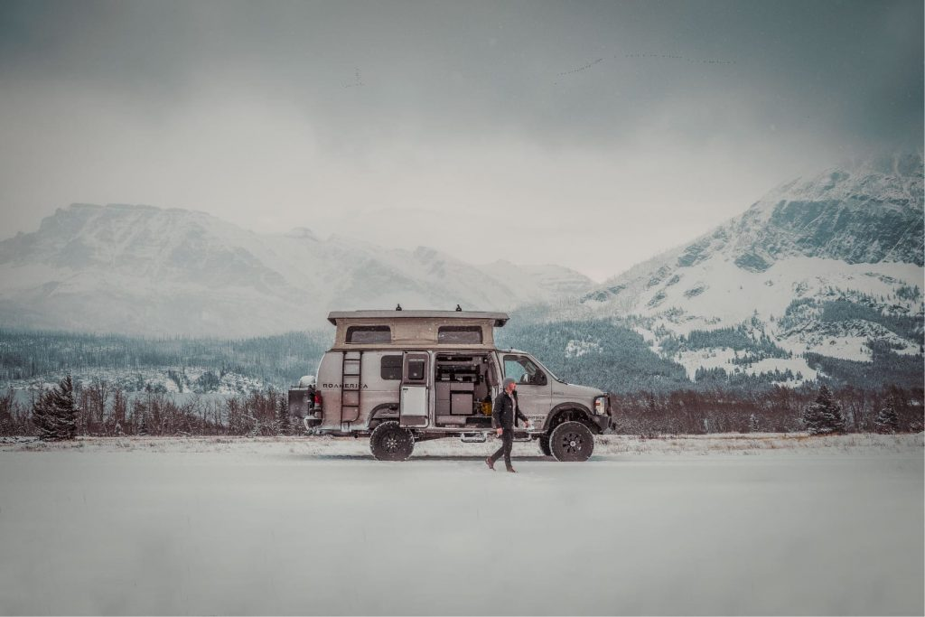 This monster V10 4x4 camper van seen parked in the snow