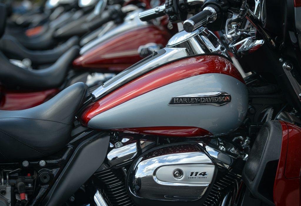 Harley-Davidson motorcycles outside a Harley-Davidson dealership in South Edmonton.