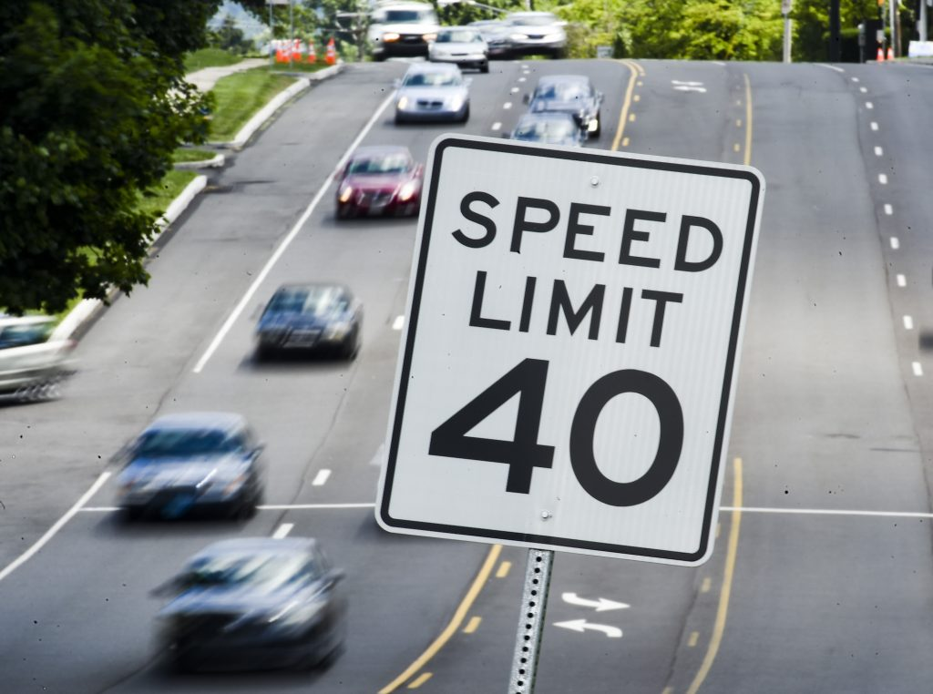 A speed limit 40 sign on the side of the road as traffic goes by in Exeter Township, Pennsylvania, in June 2021