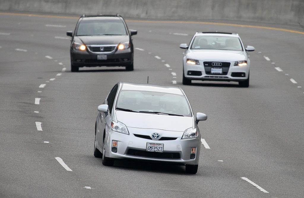 Toyota Prius driving on the freeway