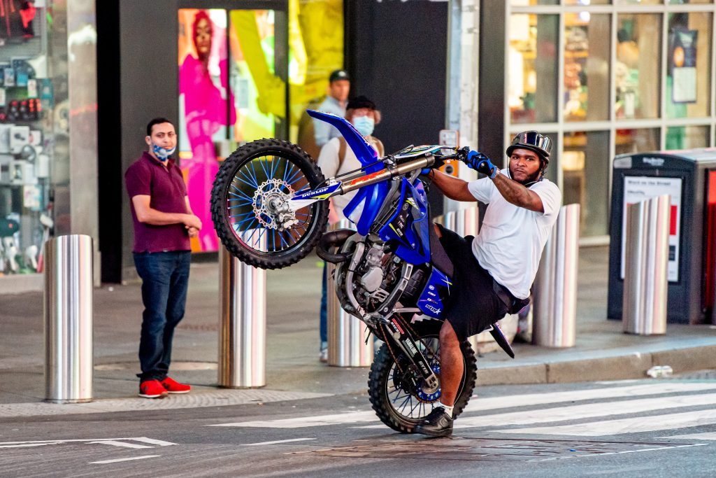 Dirt bikes like this ridden in the streets of NYC are getting crushed by NYC Mayor Bill de Blasio