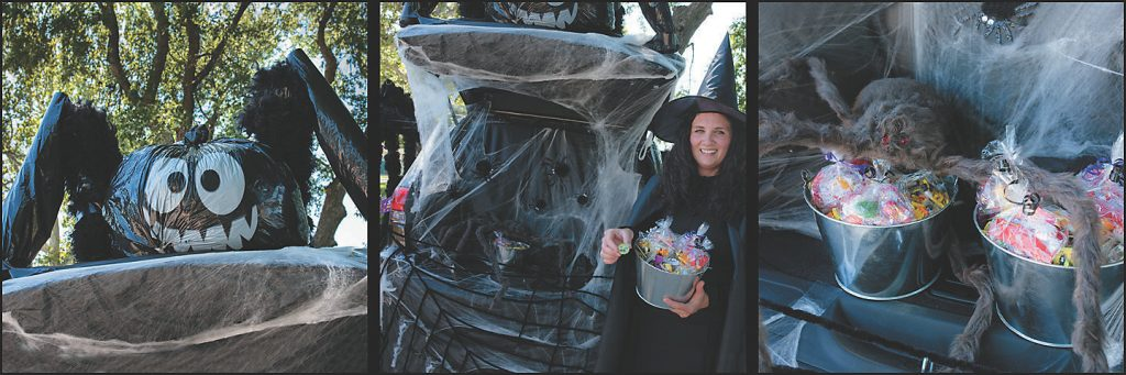 A spider Halloween costume for an SUV.