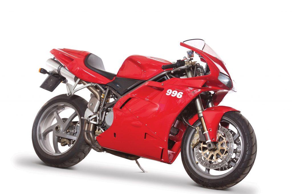 A red 2000 Ducati 996 Biposto